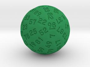 "d96 Sphere Dice ""Ozzen"" in Green Processed Versatile Plastic"