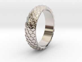 Dragon Scale Ring_A in Rhodium Plated Brass: 5 / 49