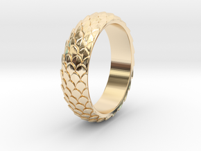 Dragon Scale Ring_A in 14k Gold Plated Brass: 5 / 49