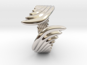 Wing Ring_B in Rhodium Plated Brass: 8 / 56.75