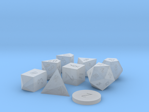 Polyset Dice - Scribble Font - Vertical D% in Smoothest Fine Detail Plastic