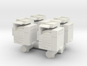 Office Printer (x4) 1/76 in White Natural Versatile Plastic