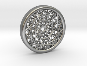 Triple Layered Spirograph Pendant in Natural Silver