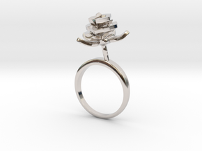 Rose ring with one small flower I in Rhodium Plated Brass: 7.25 / 54.625