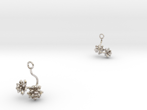 Lotus earring with two small flowers in Rhodium Plated Brass