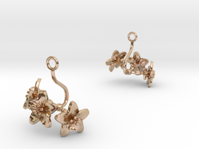 Melon earring with three small flowers in 14k Rose Gold Plated Brass