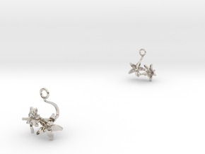 Tomato earring with two small flowers in Rhodium Plated Brass
