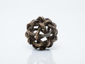 Twisted Single Stranded Globe Knot in Polished Bronzed Silver Steel