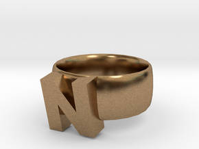 N Ring in Natural Brass