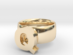 Q Ring in 14K Yellow Gold