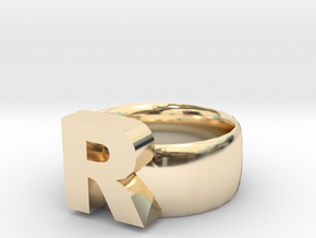 R Ring in 14K Yellow Gold