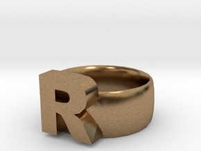 R Ring in Natural Brass