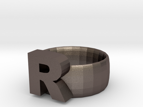 R Ring in Polished Bronzed Silver Steel