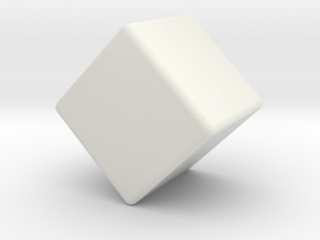 Miniature Cube 1 inch - Rounded 1mm in White Natural Versatile Plastic