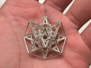 24 Cube Tesseract Pendant in Natural Silver