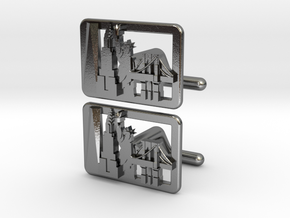 New York Cityscape Skyline cufflinks in Polished Silver