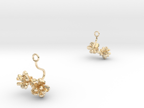 Cherry earring with two small flowers in 14k Gold Plated Brass