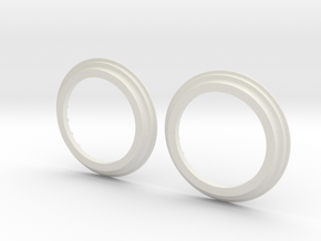 DE Ring Pair in White Natural Versatile Plastic