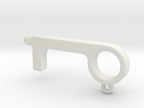 Hands-Free Door Opener With Button Pusher in White Natural Versatile Plastic