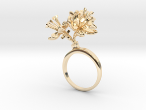 Apple ring with three small flowers in 14k Gold Plated Brass: 7.25 / 54.625