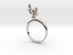 Hyacinth ring with two small flowers R in Rhodium Plated Brass: 7.25 / 54.625