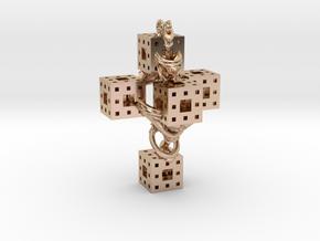 Crucifixum Fractalum Mathematicae - Argentum Unum in 14k Rose Gold