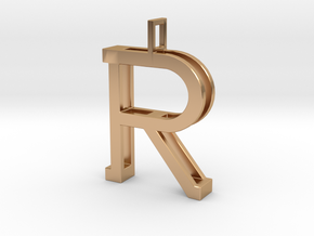 letter R monogram pendant in Polished Bronze
