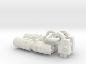 Silverblue Daemon's shoulder rocket launchers - er in White Natural Versatile Plastic