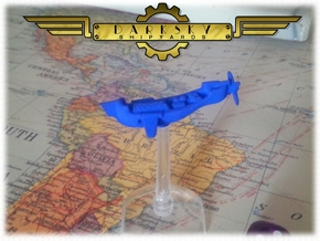 Sky Trader | Steampunk Airship Miniature. in Blue Processed Versatile Plastic