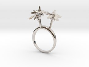 Tomato ring with three small flowers in Rhodium Plated Brass: 7.25 / 54.625