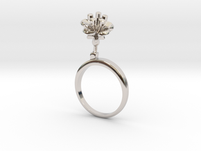 Cherry ring with one small flower in Rhodium Plated Brass: 7.25 / 54.625