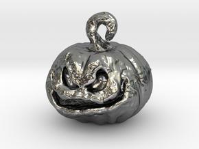 Spooky Pumpkin Earring in Polished Silver