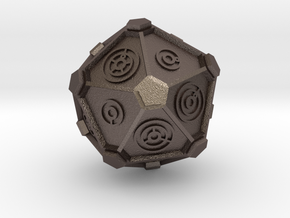 Gallifreyan D20 (28mm) in Polished Bronzed Silver Steel