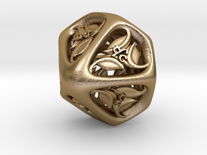 Tengwar Elvish D% (Numbered 00-90) in Polished Gold Steel