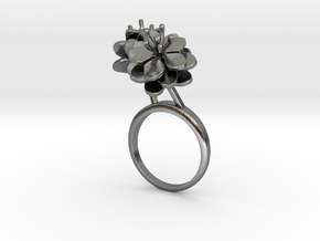 Anemone ring with two small flowers II R in Polished Silver: 7.25 / 54.625