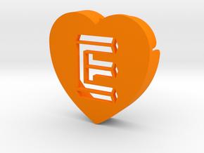 Heart shape DuoLetters print E in Orange Processed Versatile Plastic
