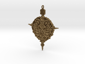 Baroque Ornament Amulet in Natural Bronze