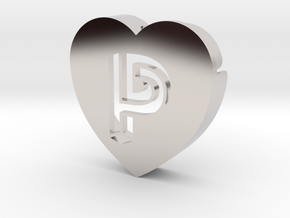 Heart shape DuoLetters print P in Platinum