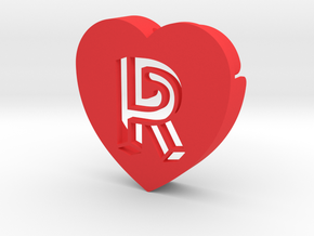 Heart shape DuoLetters print R in Red Processed Versatile Plastic