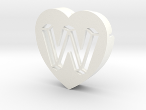 Heart shape DuoLetters print W in White Processed Versatile Plastic