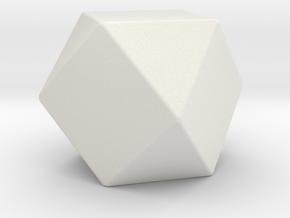 Cuboctahedron - 1 Inch - Rounded V2 in White Natural Versatile Plastic