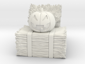 Hay Bale Stack with Jack-O-Lantern in White Natural Versatile Plastic