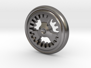 Gear Coin Top in Polished Nickel Steel