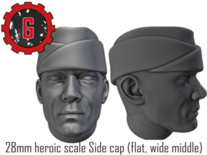 28mm Heroic Scale US Side Cap (flat middle) in Smooth Fine Detail Plastic: Small