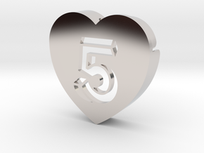 Heart shape DuoLetters print 5 in Platinum