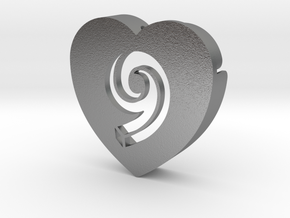 Heart shape DuoLetters print 9 in Natural Silver