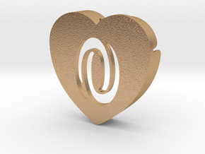 Heart shape DuoLetters print 0 in Natural Bronze