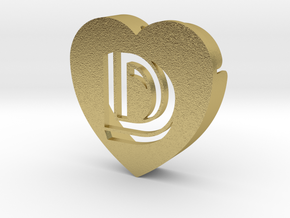Heart shape DuoLetters print D in Natural Brass