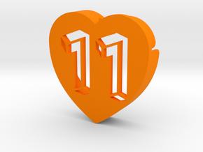 Heart shape DuoLetters print 11 in Orange Processed Versatile Plastic