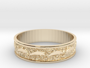 Dolphin Bangle - Simplified in 14k Gold Plated Brass